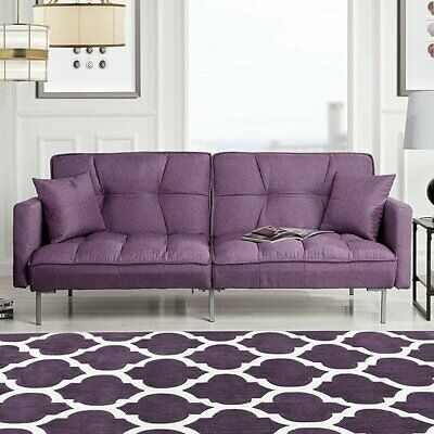 Mid Century Sofa Bed Sleeper with Tufted Cushions, Futon Sofa in Purple Linen