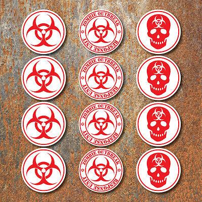 Bio-Hazard Warnung Zombie Aufkleber Satz Rot Weiß Biohazard - Zombie Auto Zubehör