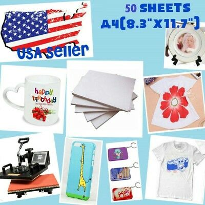 Used, 50 Sheet A4 Sublimation Heat Transfer Paper for Mug Cup Plate Cotton T- Shirt for sale  Shipping to Canada