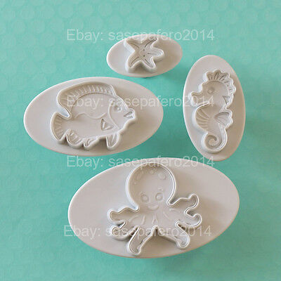 Under the Sea octopus, sea horse, fish cookie cutters with stamp 4 pieces