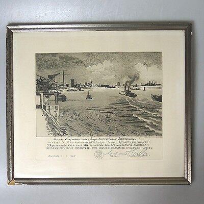 Alte Hafenansicht Duisburg Industrieansicht Urkunde Thyssen signiert 1965