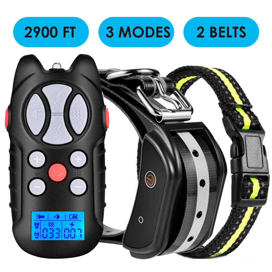 Dog Shock Training Collar Rechargeable Remote Control Waterproof IP67 984 Yards Bark Collars