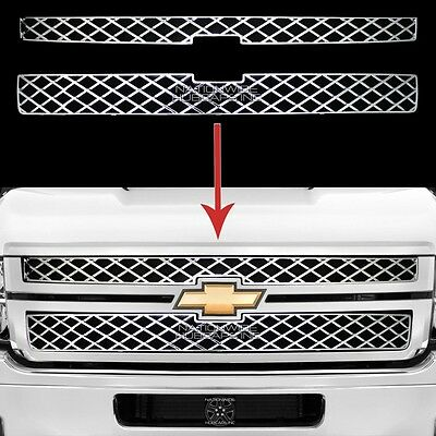 2011-2014 Silverado 2500 3500 HD CHROME Grille Overlay Grill Cover Front Inserts