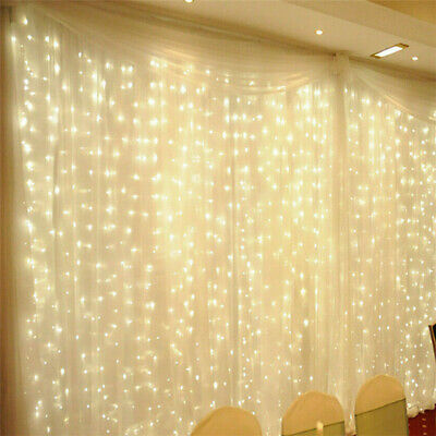 9.8Ft 300LED Window Curtain Fairy String Night Lights Backdrop Wedding Christmas ()