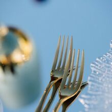 Hire Gold Cutlery, charger plates, gold rimmed glassware, Goblets, Earlwood Canterbury Area Preview
