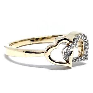 10CT YELLOW GOLD DIAMOND SET LADIES DRESS RING 2.1grams