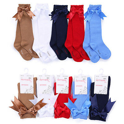 Children Girls Knee High Socks Toddler Kids Party School Bow Socks 5 Colors