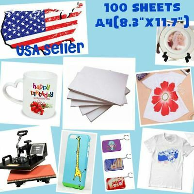 100 Sheets A4 Sublimation Ink Heat Transfer Paper For Polyester Cotton T- Shirt