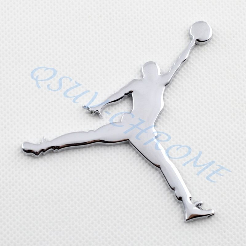 Chrome Style Jordan Badge Emblem Sticker Decal Car Decoration Accessories Parts