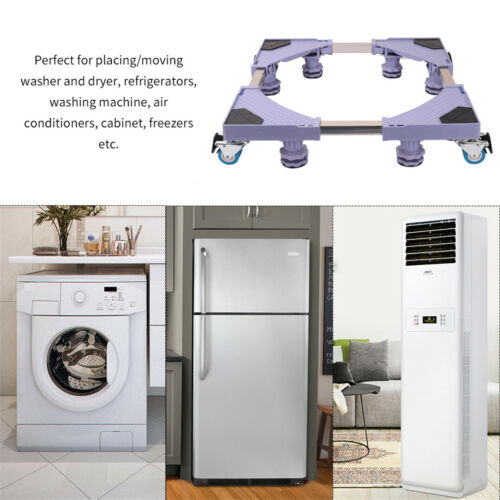 Universal Mobile Base Fridge Stand Multi-Functional Furniture Dolly Roller Base Movable Adjustable Base for Dryer Washing Machine and Mini Refrigerator ,Gray 4 feet 8wheels