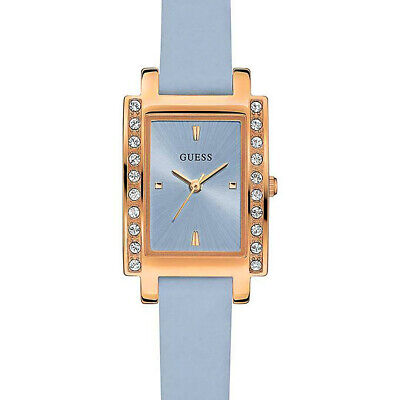 GUESS Womens Delila Watch, Rose Gold, Blue Shimmer Leather, Glitz (Guess Rose Gold)