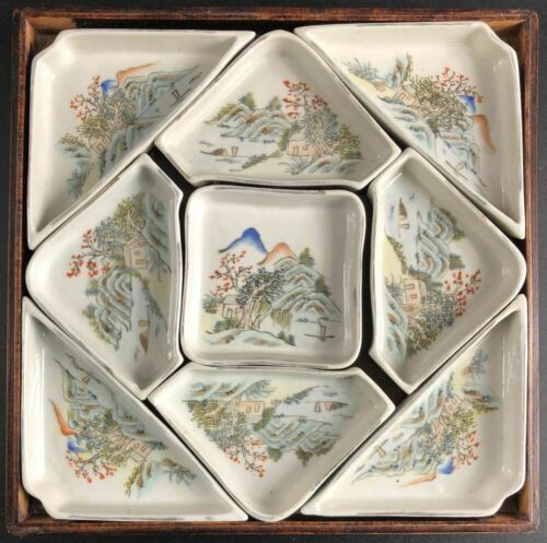 Chinese Qianjiangcai Porcelain Nine Sons Plate 19th Century(清浅绛彩山水纹九子攒盘)