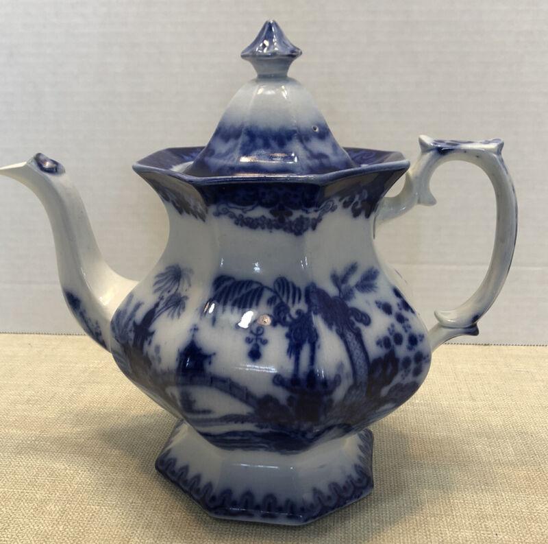 "Antique FLOW BLUE Teapot Kaolin Pattern 9"" circa 1850 Podmore Walker"