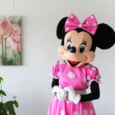 Adult Size pink  Minnie Mouse Mascot Costume Halloween Cosplay Disney Character - Disney Characters Costumes Adults