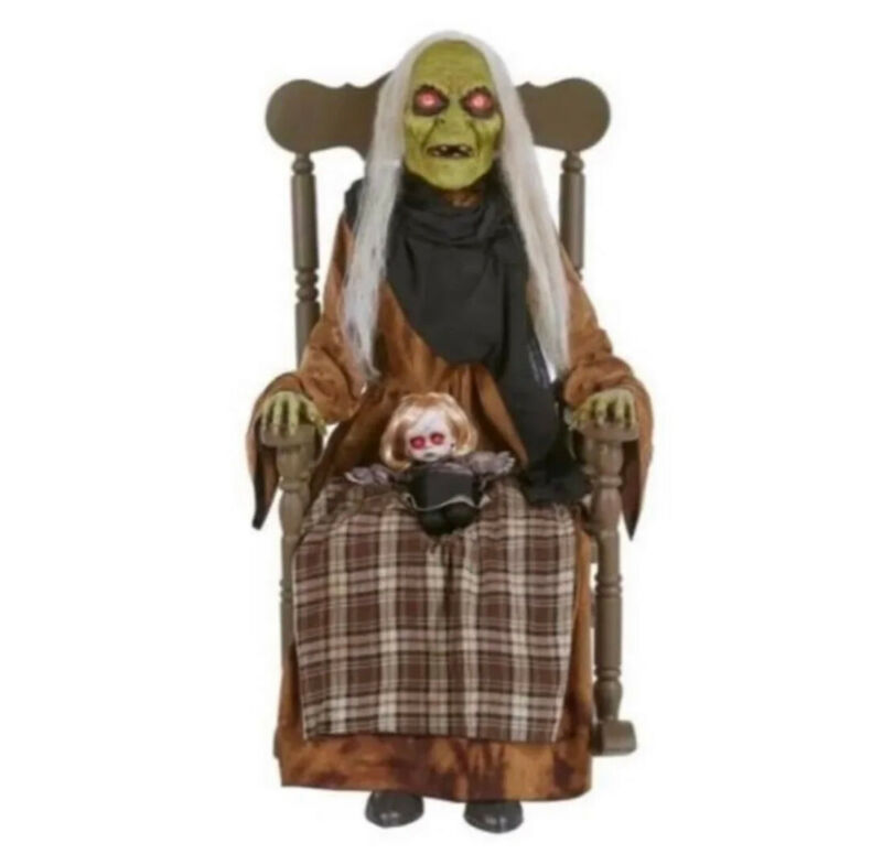 Motion Activated 4ft Led Animated Witch in Rocking Chair With Baby