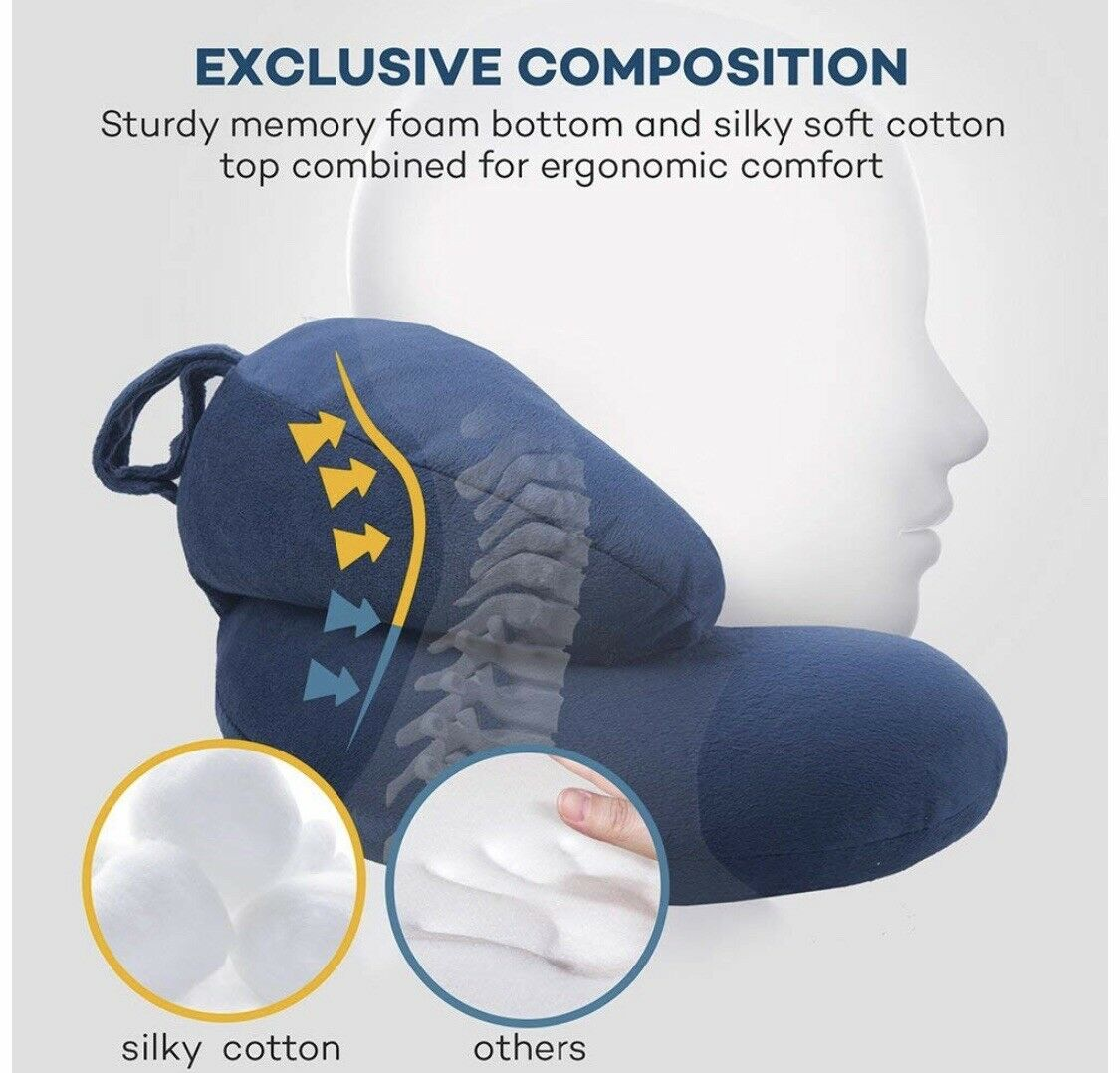 Travel Neck Pillows with Memory Foam Head Support and Cover