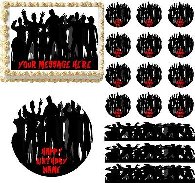 Zombie Silhouettes Cemetary Edible Cake Topper Image, Zombie Cake Decoration NEW (Zombie Silhouettes)