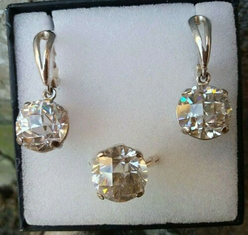 ANTIQUE EARRING AND RING LARGE SET Rock Crystal natural Art Deco earrings, ring