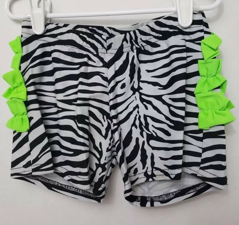 BP Designs Dancewear Zebra Print Shorts Neon Green Ruffle Youth XLarge