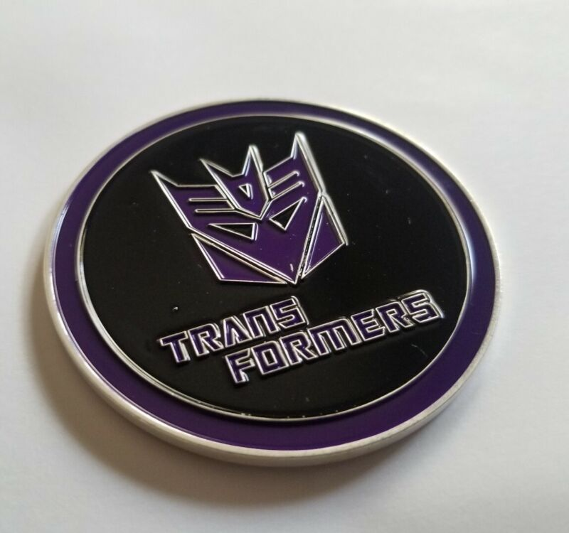 TRANSFORMERS ENAMELED CHALLENGE COIN CARD PROTECTOR FLIP HEADS TAILS