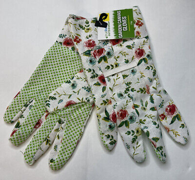 New True Living Outdoors Red Blue White Floral Canvas Garden Gloves One Size