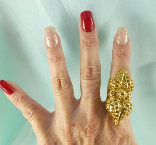 LONG Filigree Gold Tone Finger Knuckle Ring Size 6 or 7 Pretty Cocktail RING