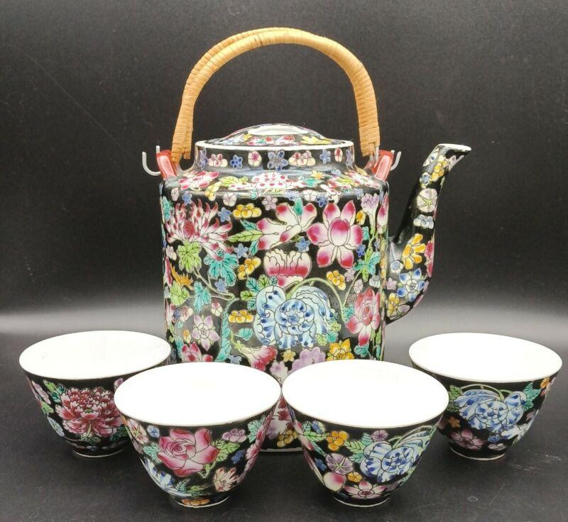 Vtg Chinese Millefleur Famille Noire Black Porcelain Enamel Floral Teapot & Cups
