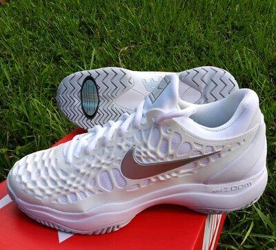 078cf6d012b03 10.5 MEN S Nike Air Zoom Cage 3 HC White Metallic Silver 918199 102 GREY  TENNIS