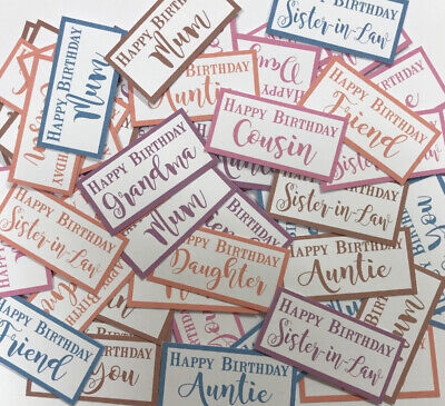 55 Mixed Female Relative Birthday SENTIMENTS/BANNERS PRINTED CARD TOPPERS (FRel)