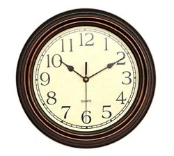 Foxtop 12 inch Silent Non-ticking Wall Clock Battery Operated Vintage Style,