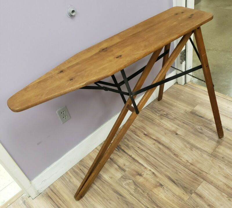 Vintage Wooden Folding Ironing Board with Metal Frame