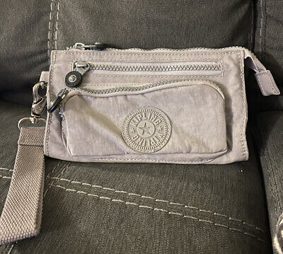 Kipling Grey Nylon Wallet Travel Wristlet Large