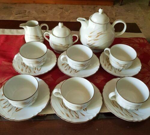 Servizio vintage 6 tazze da te porcellana sagomata dipinta filo oro Ginori