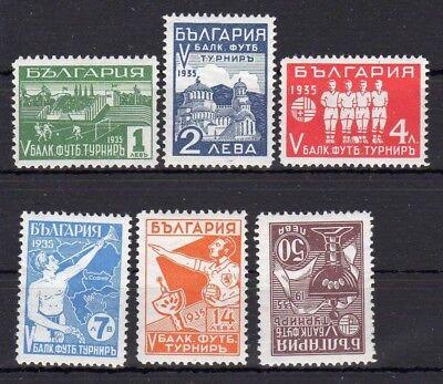 Bulgaria 1935 #267-272 Balkan Soccer Game MH OG Football Theme.