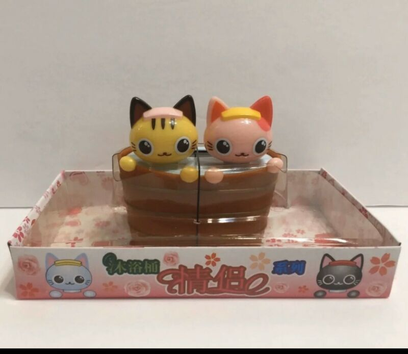 "Solar Powered Y&P Cute 2 Cats In Bathtub 3"" figuire Toy"