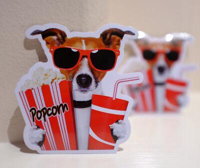 Popcorn Time Movie Dog Lover 3 X3  Decal Sticker  4607