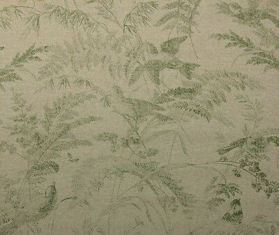 "LACEFIELD DESIGNS BIRD TOILE GREEN FLORAL BASKETWEAVE FABRIC BY THE YARD 54""W"