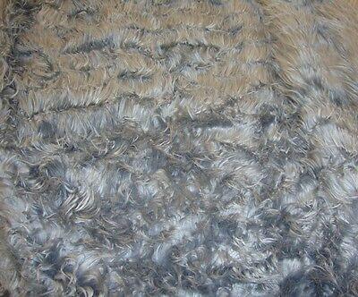 (Fur faux Grey shaggy fur long pile upholstery custom fabric by yard 60