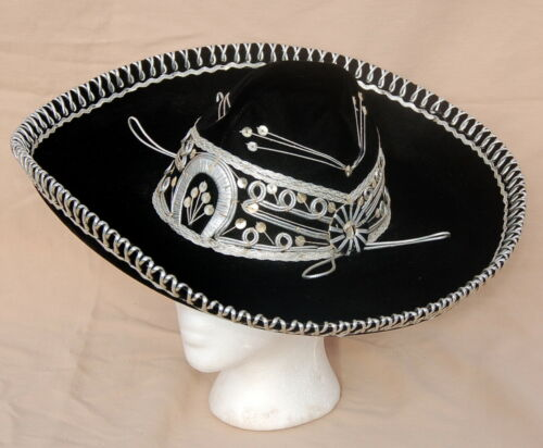 Vintage Mariachi / Charro HAT ~ Black Velvet w Silver Details ~ Smaller Size