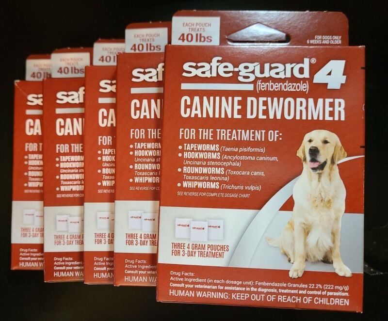 Safe-Guard-4 Canine Dewormer 4-Gram packets Treats 40 Lbs. 5 Boxes (15 Packets)