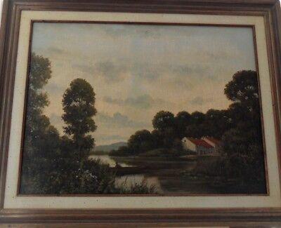 Peter Motz (1934-2003)- Wald Landschaft am See mit Angler - Original Öl Gemälde