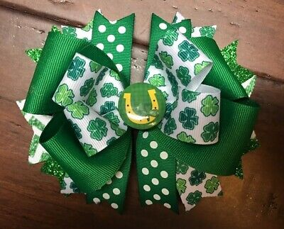 St Patrick's Day Hair Bow Boutique Handmade Clip Green Polka Dot Shamrock