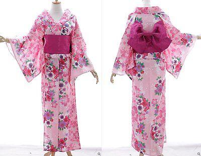 K-77 rosa pink Flower Blumen ORIGINAL Japan Baumwolle Kimono YUKATA OBI Gürtel ()