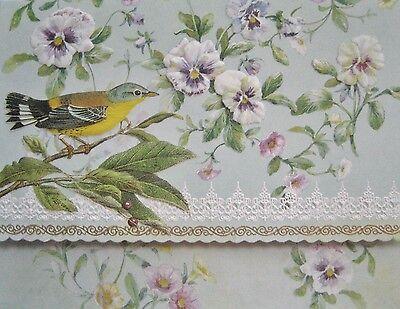 Carol Wilson Fine Arts Stationery 10 Note Cards Envelopes Blank Bird Birds Pansy