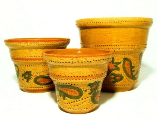 ALDO LONDI BITOSSI/ROSENTHAL NETTER (ITALY) VINT PAISLEY DECORATED CERAMIC POTS