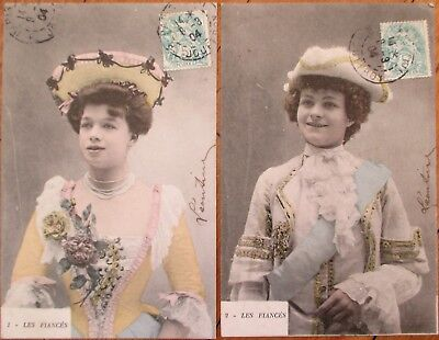 PAIR 1904 French Fantasy Postcards: Woman in Costumes - Les - Costumes In Pairs