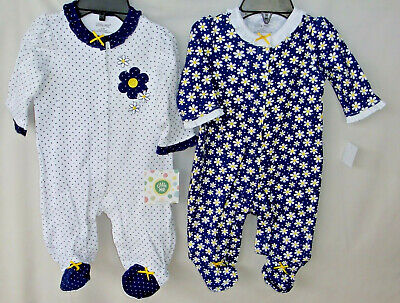 LITTLE ME 100% Cotton 2 pack Navy DAISY Footies NWT