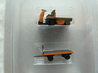 miniatur MT07 Spur TT Fertigmodell Set Bahnsteigkarren Anhänger orange Pritsche