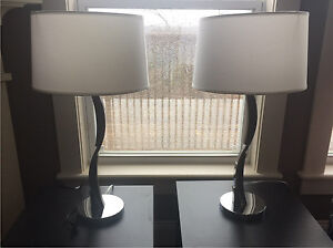 Set of two chrome and accent wood lamps