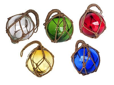 Japanese Glass Fishing Float in Net Many Sizes and Colors Decorative Buoys - Colored Fish Netting